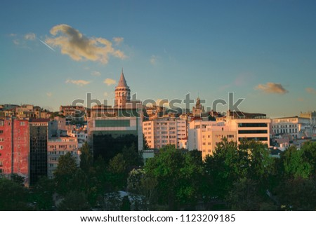 Istanbul cityscape in Turkey with Galata Tower. - Shutterstock ID 1123209185