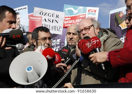 ISTANBUL-DECEMBER 26: Unidentified supporters of imprisoned journalists gather in the Istanbul courthouse (with president of the European Federation of Journalists, Arne König) demanding protection for press freedom in Istanbul, Turkey on Dec. 26, 2011.
