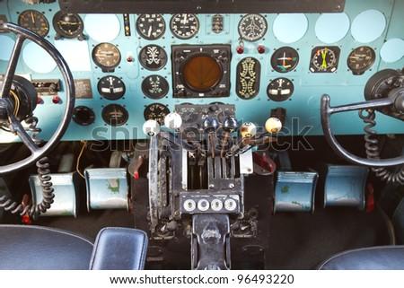 ISTANBUL - FEBRUARY 11:  Cockpit of Douglas DC-3 at Rahmi M. Koc Museum on February 11, 2012 Istanbul, Turkey. Over 16,000 Douglas DC-3 was produced 1936 to 1950. #96493220