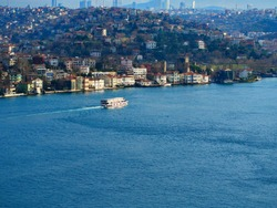 Istanbul Ferry tour going Asian side from European coast. Bosphorus ferry boat tour between Asia and Europe continentals