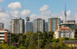 Istanbul Fikirtepe district new buildings, Camlica Hill Television with transmitter. Horizontal shooting.