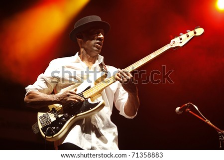 ISTANBUL - JULY 7: Bass guitarist Marcus Miller played at the Cemil Topuzlu Open Air Theater, July 8, 2009, in Istanbul, Turkey
