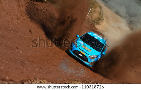 ISTANBUL - JULY 07: Ferhat Tanribilir drives a Ford Fiesta R2 car during 41st Bosphorus Rally ERC Championship, Gocbeyli Stage on July 7, 2012 in Istanbul, Turkey.