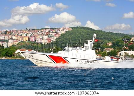 ISTANBUL - JULY 5: Turkish coast guard boat TCSG-303 on July 5, 2012 in Istanbul. A 25 mt long, 7 mt width law enforce vessel, has a maximum speed of 41 knots.