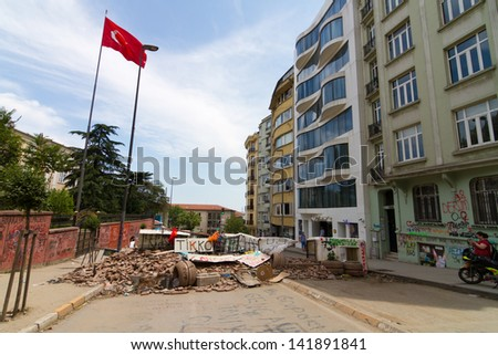 ISTANBUL - JUNE 08: Barricade around Taksim district during protests on June 08, 2013 in Istanbul, Turkey. People do not allow police to enter Taksim Square before their requests are accepted.