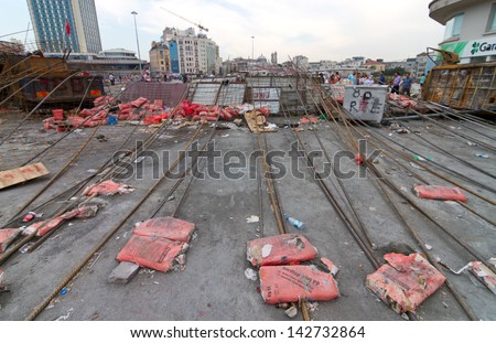 ISTANBUL - JUNE 15: Barricade around Taksim district during protests on June 15, 2013 in Istanbul, Turkey. Police evacuated Gezi Park by using disproportionate force and clashes until dawn.