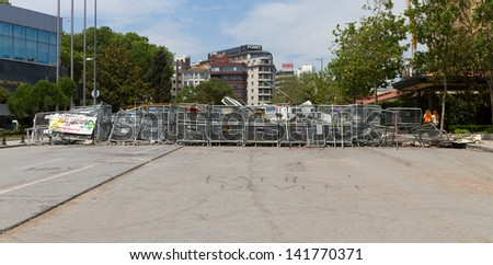ISTANBUL - JUNE 08: Barricade around Taksim Square during protests on June 08, 2013 in Istanbul, Turkey. People do not allow police to enter Taksim Square before their requests are accepted.