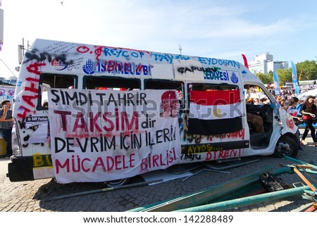 ISTANBUL - JUNE 08: Harmed Municipality van during protests in Turkey on June 08, 2013 in Istanbul, Turkey. Istanbul Municipality is also protested as AKP goverment.