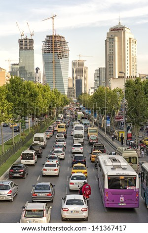 Istanbul, June 6, 2013: Heavy Traffic Jam In Levent, Istanbul. Huge Number Of Stopped Cars In Line During Rush Hour.