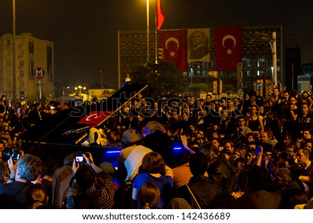 ISTANBUL - JUNE 14: Piano concert during protests in Turkey on June 14, 2013 in Istanbul, Turkey. There was piano and symphony concerts, ballet performances during protests.
