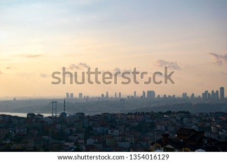 Istanbul landscape from Camlica Mosque. Photo taken on 29th March 2019, İstanbul, Turkey #1354016129