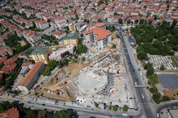 Istanbul landscape from helicopter. Marmara University Theology Faculty Mosque construction. Foundation construction. Shooting from the helicopter.
