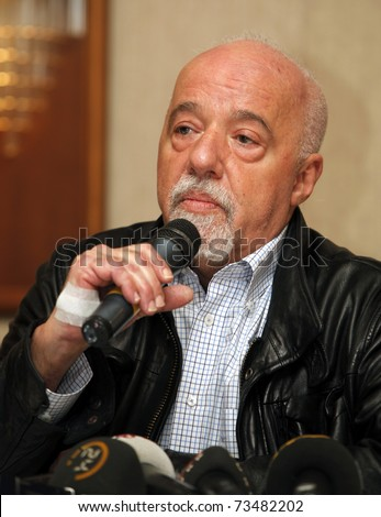 ISTANBUL-MARCH 19: Brazilian writer Paulo Coelho at press conference to promote his new book Elif, March 19, 2011 in Istanbul,Turkey