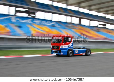 ISTANBUL - MAY 12: Dominique Lacheze of MAN Truck Sport Lutz Bernau team during 2nd race of 2012 FIA European Truck Racing Championship, Istanbul Park on May 12, 2012 in Istanbul, Turkey.