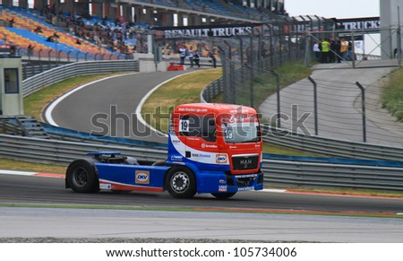 ISTANBUL - MAY 13: Dominique Lacheze of MAN Truck Sport Lutz Bernau team during 3rd race of 2012 FIA European Truck Racing Championship, Istanbul Park on May 13, 2012 in Istanbul, Turkey.
