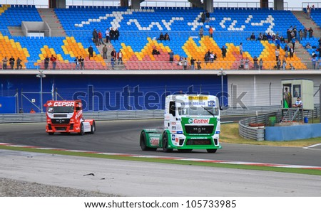 ISTANBUL - MAY 13: Jochen Hahn (1) and Antonio Albacete (2) at 3rd race of 2012 FIA European Truck Racing Championship, Istanbul Park on May 13, 2012 in Istanbul, Turkey.