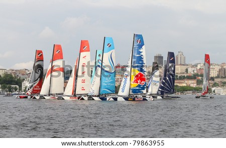 ISTANBUL - MAY 29: Participants compete in the Extreme Sailing Series boat race on May 29, 2011 in Istanbul, Turkey.