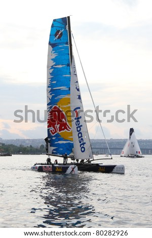ISTANBUL - MAY 29: Skipper Roman Hagara, Red Bull Extreme Sailing team boat competes in the Extreme Sailing Series boat race on May 29, 2011 in Istanbul, Turkey