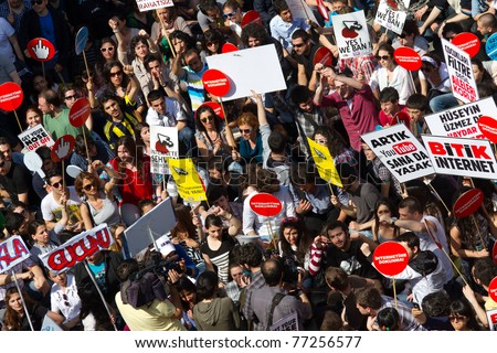 ISTANBUL - MAY 15: Thousands of people protest against the government\'s decision to censor the internet on May 15, 2011 in Istanbul, Turkey. Demonstrations was held in Taksim, Istiklal street.