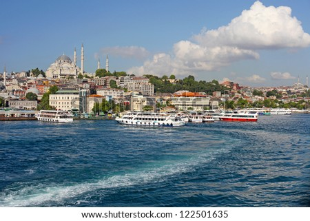 Istanbul New Mosque and Ships, Turkey