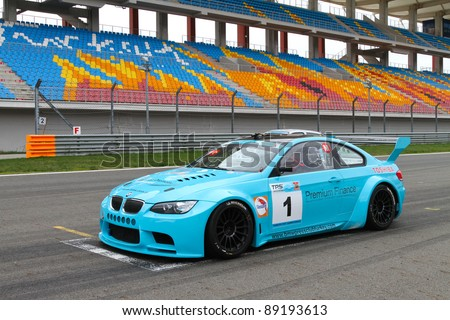 ISTANBUL - OCTOBER 29: Aytac Biter, BMW M3 GT at start line before Turkey  Track Championship on October 29, 2011 in Istanbul, Turkey