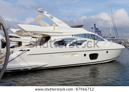 stock photo : ISTANBUL - OCTOBER 22: Azimut 55 motor yacht during 30th ...