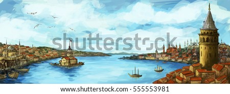 Istanbul Panoramic Illustration with Galata Tower and Maiden's Tower Stok fotoğraf ©