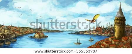 Istanbul Panoramic Illustration with Hezarfen Ahmed Celebi Stok fotoğraf ©