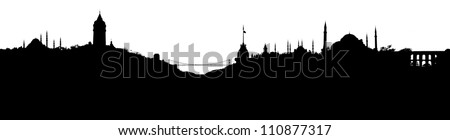 Istanbul skyline silhouette, with all important buildings and attractions of the city