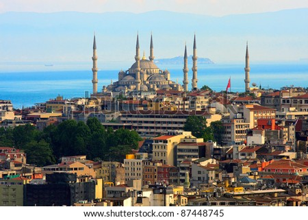 Istanbul skyline with blue mosque and marmara sea in background - stock photo