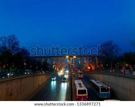 Istanbul Southerly Historic Arch Traffic Road Evening Evening Lights Buy a great image background of blue sky. #1336897271