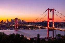 Istanbul sunset from most famous and touristic location. This is the Nation Park in Nakastepe. 15th July Martyrs Bridge (July 15th Sehit Koprusu). Istanbul Bosphorus Bridge. High quality Turkey puzzle