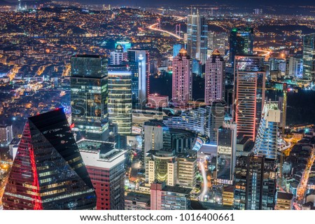 Istanbul, Turkey. Aerial view of the city downtown and skyscrapers. Skyscrapers and modern office buildings at Levent District. With Bosphorus background. #1016400661