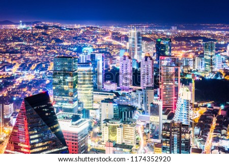 Istanbul, Turkey. Aerial view of the city downtown and skyscrapers. Skyscrapers and modern office buildings at Levent District. With Bosphorus background. #1174352920
