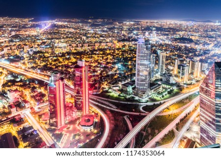 Istanbul, Turkey. Aerial view of the city downtown and skyscrapers. Skyscrapers and modern office buildings at Levent District. With Bosphorus background. #1174353064