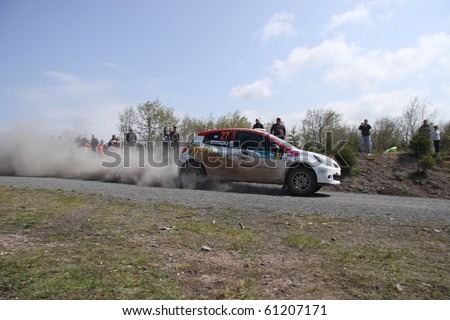 ISTANBUL, TURKEY - APRIL 18: Alessandro Broccoli drives a Team Sab Motorsport Renault Clio R3 car during Rally of Turkey 2010 WRC championship, Ballica Stage on April 18, 2010 in Istanbul, Turkey