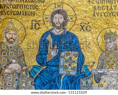 ISTANBUL, TURKEY - APRIL 10: Emperor Constantine, Jesus Christ and Empress Zoe. A Byzantine mosaic in the interior of Hagia Sophia, on April 10, 2011 in Istanbul.