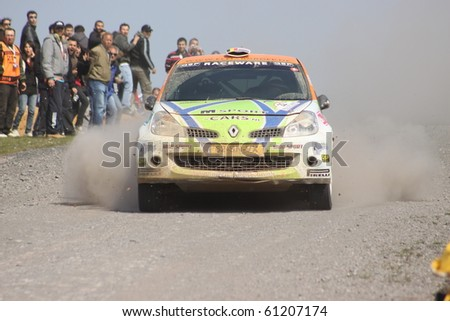 ISTANBUL, TURKEY - APRIL 18: Kevin Abbring drives a Knaf Talent FirstTeam Holland Renault Clio RS car during Rally of Turkey 2010 WRC championship, Ballica Stage on April 18, 2010 in Istanbul, Turkey