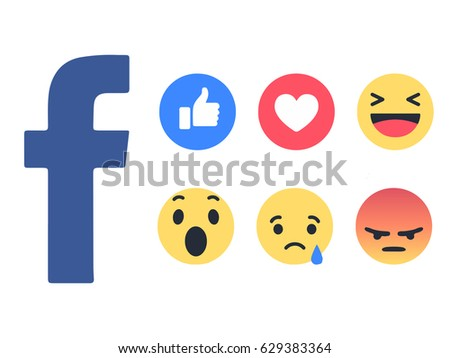 Istanbul, Turkey - April 22, 2017: New Facebook buttons and empathetic emoji reactions printed on white paper. Facebook is a well-known social networking service.