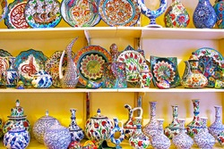 ISTANBUL, TURKEY - APRIL 01, 2013: View of classical turkish ceramics on the shelves on the market