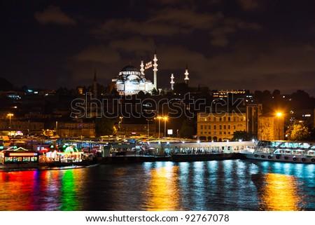 Istanbul Turkey at night - architecture travel background