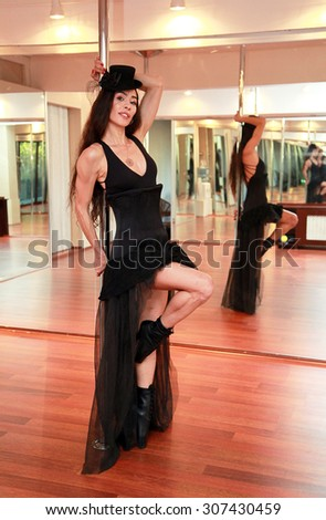 ISTANBUL, TURKEY - AUGUST 25: Pole dancer woman training at dance hall on August 25, 2013 in Istanbul, Turkey.