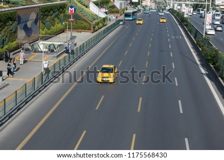 ISTANBUL, TURKEY - AUGUST 4: Turkish taxi on the way, August 30, 2018 in Istanbul. 22,000 Istanbul taxi routes are on duty. #1175568430