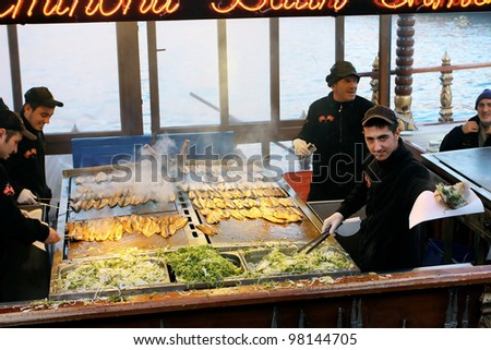 Istanbul turkey circa january 2012 popular fish for Fish buffet near me
