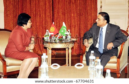 ISTANBUL, TURKEY - DEC 22: President, Asif Ali Zardari, in meeting with Kyrgyzstan President, Roza Otunbayeva on the sidelines of the eleventh ECO summit on December 22, 2010 in Istanbul.