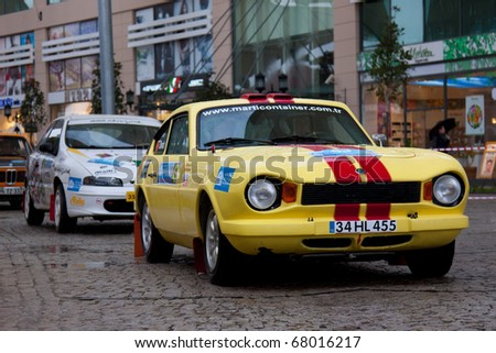 ISTANBUL, TURKEY - DECEMBER 26: Erdal Tokcan drives a  Anadol STC-16 car during Istanbul Rally Championship, SS Stage on December 26, 2010 in Istanbul, Turkey - stock photo