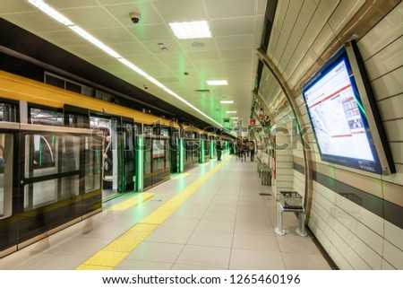 "Istanbul, Turkey - December 21, 2018; Interior of Istanbul Metro, M5 line between Uskudar - Cekmekoy. ""Turkey's first driverless metro""  #1265460196"