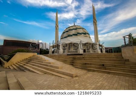 ISTANBUL, TURKEY: Interior of Marmara University Faculty of Theology Mosque, turkish name is Ilahiyat Camii, in Uskudar #1218695233