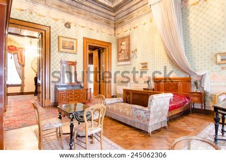 ISTANBUL, TURKEY   January 15: Mustafa Kemal Ataturku0027s Bedroom At  Dolmabahce Palace On January