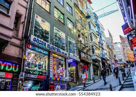 Istanbul, Turkey, January 03, 2017: Street with cafes and shops #554384923